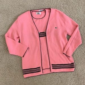 Lacoste Matching Pink Top and Sweater Bundle